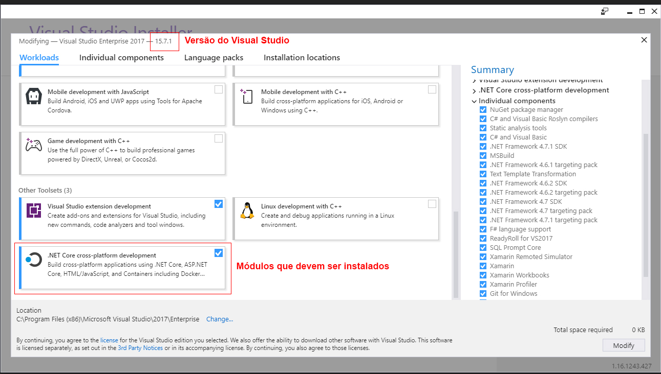 Visual Studio Installer (VS 15.7.1) e .NET Core Worload